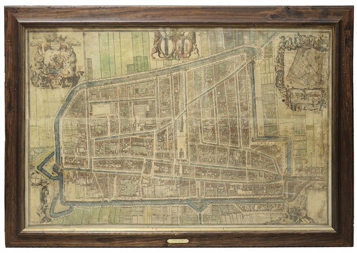 Splendidly decorated wall map of Delft coloured by a contemporary hand