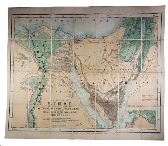 Chromolithographed map of the Sinai Peninsula and northeast ...